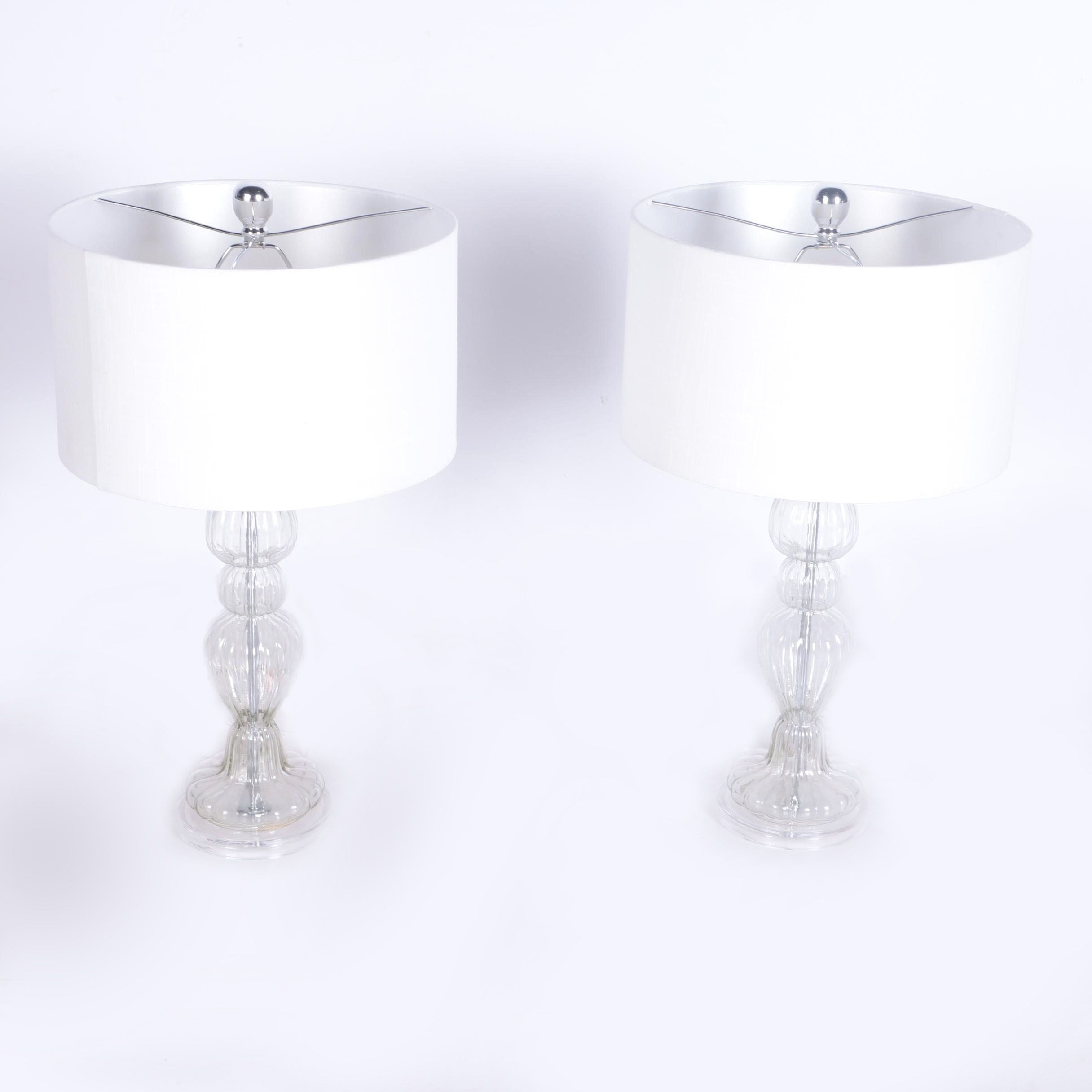 Pair of Clear Glass Table Lamps
