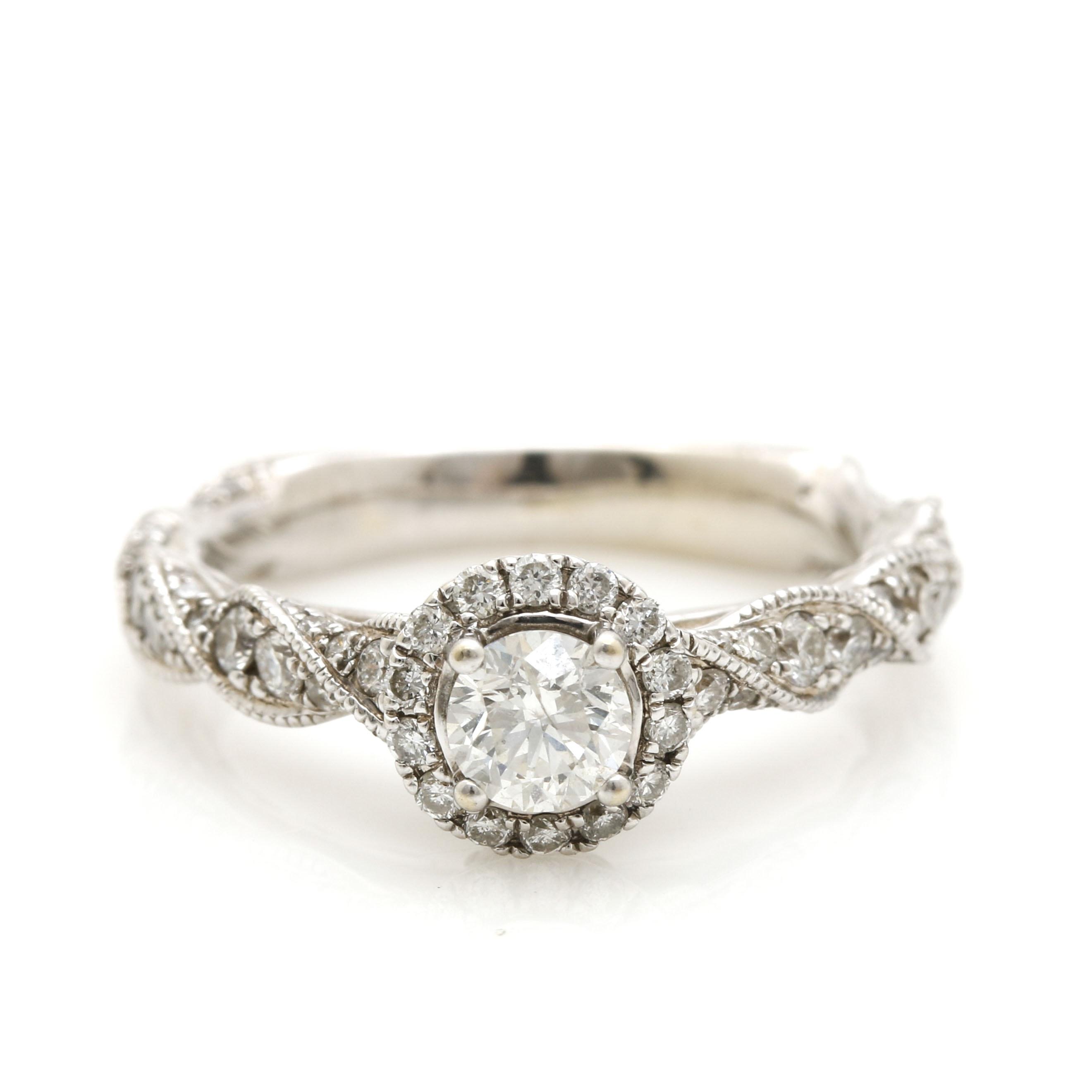 14K White Gold 1.35 CTW Diamond Ring