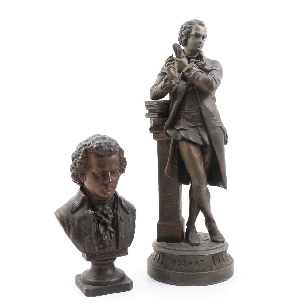 After Albert-Ernest Carrier-Belleuse Spelter Sculpture of Mozart and Small Bust