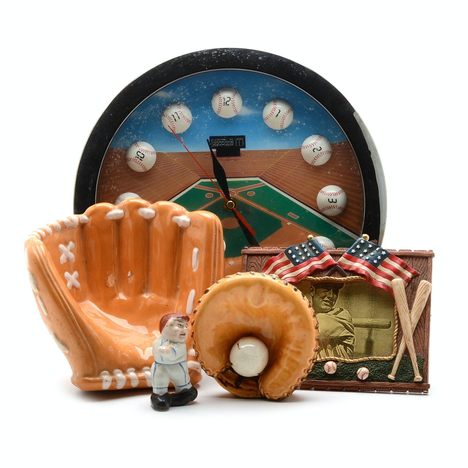 Baseball Wall Clock with Ceramic Gloves