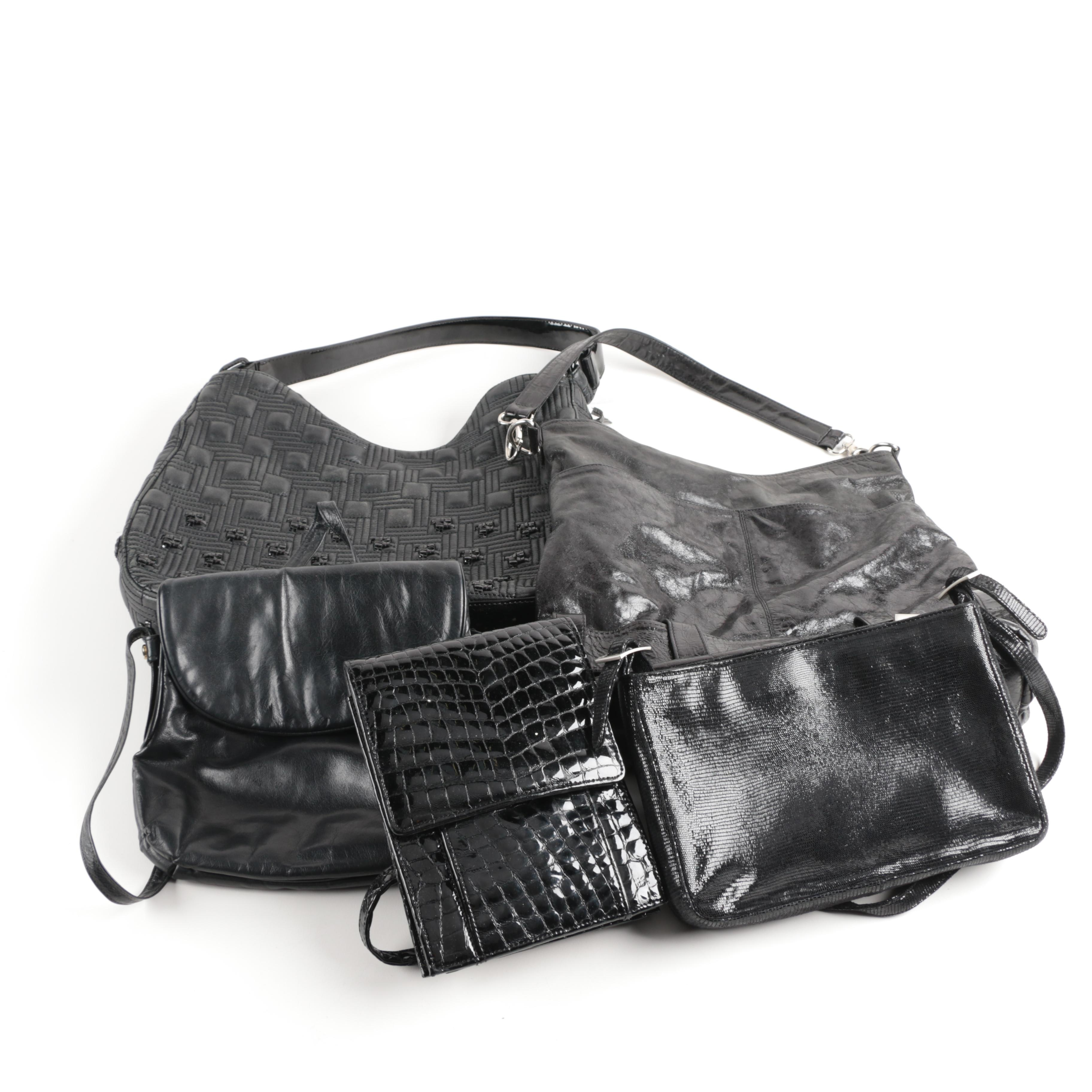 Five Black Leather Bags