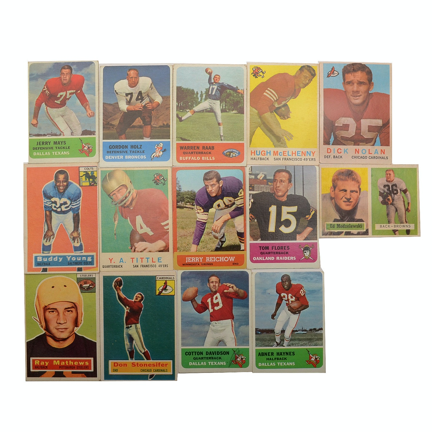 Fourteen Vintage 1950s and 1960s Football Cards