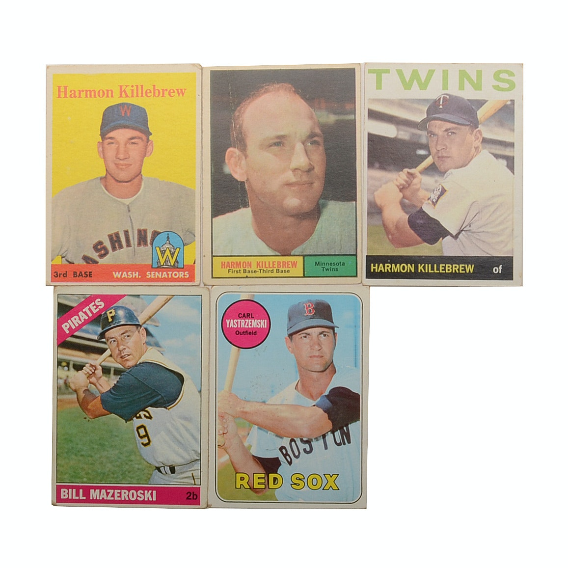 Five 1950s and 1960s Topps Hall Of Fame Baseball Player Cards