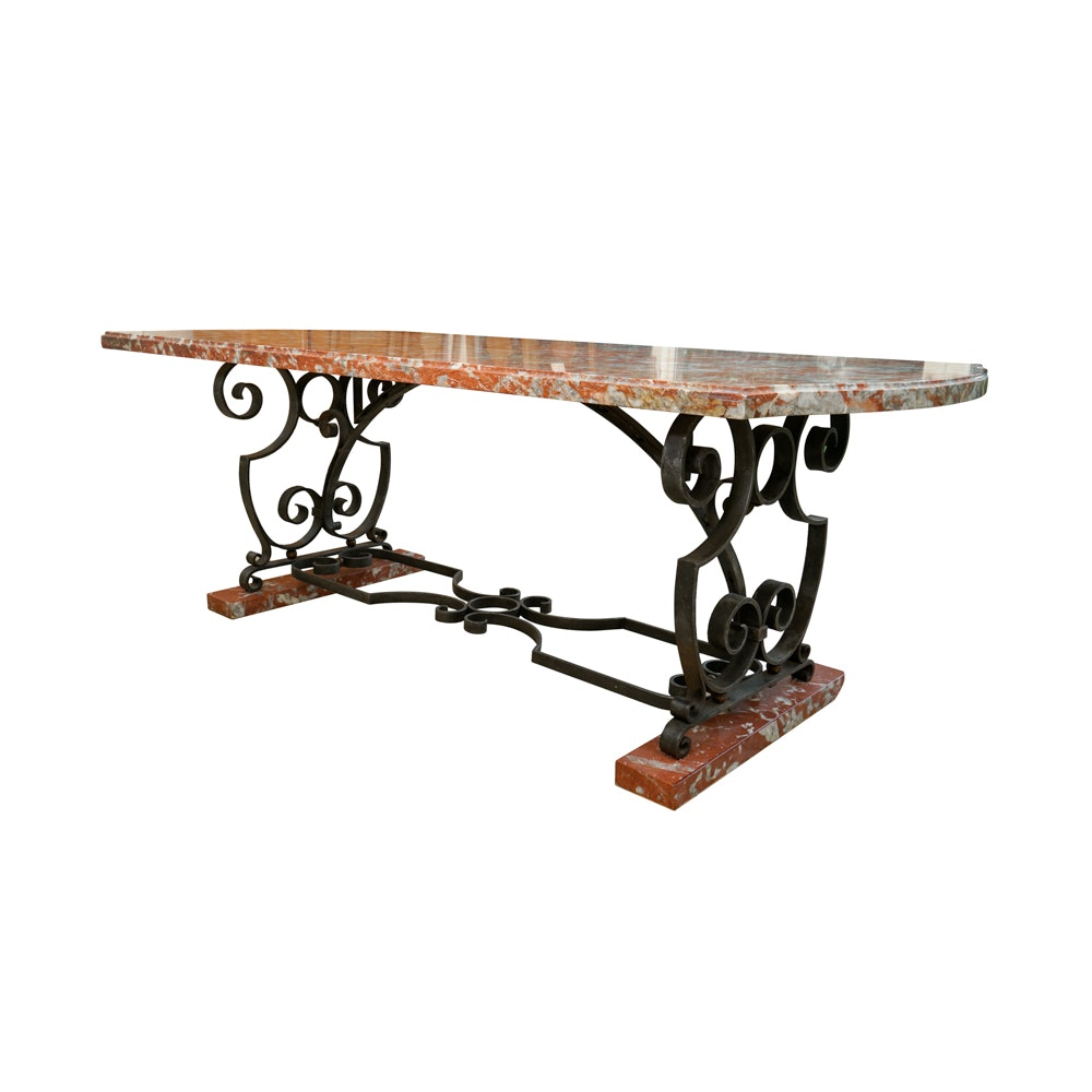 Italian Style Wrought Iron and Rouge Marble  Dining Table