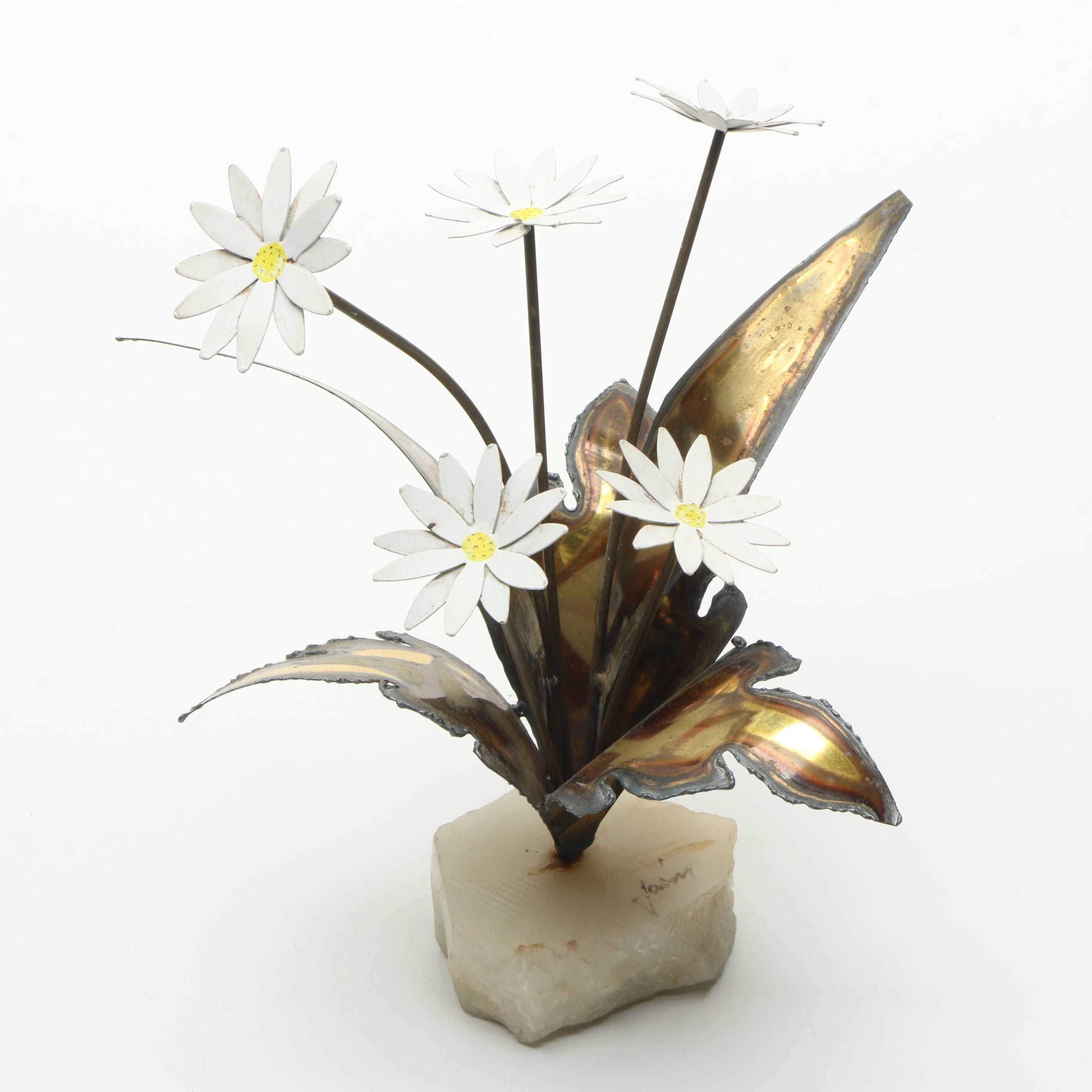 Mid Century Modern Metal Flowers with Mineral Base