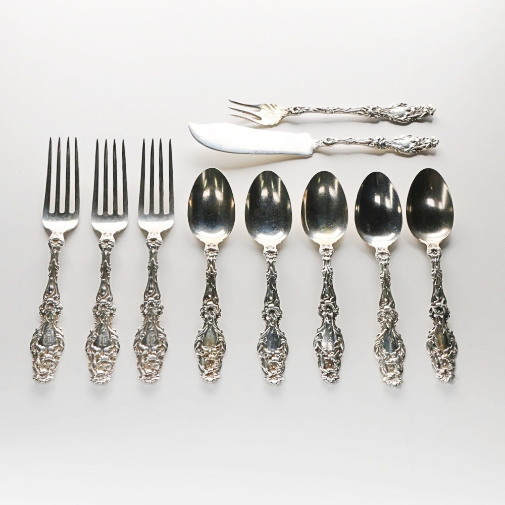 """Whiting Manufacturing Co. """"Lily"""" Sterling Silver Flatware"""