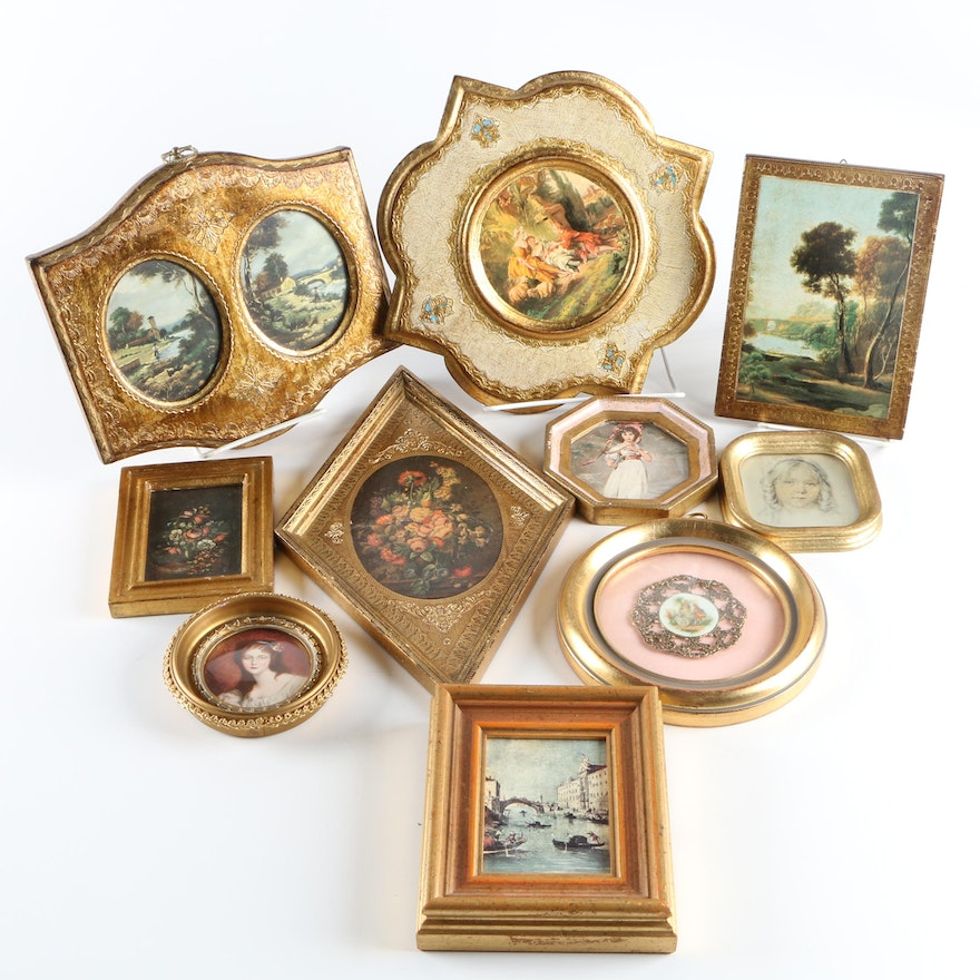 Gold Gilded Frames with Pictures : EBTH