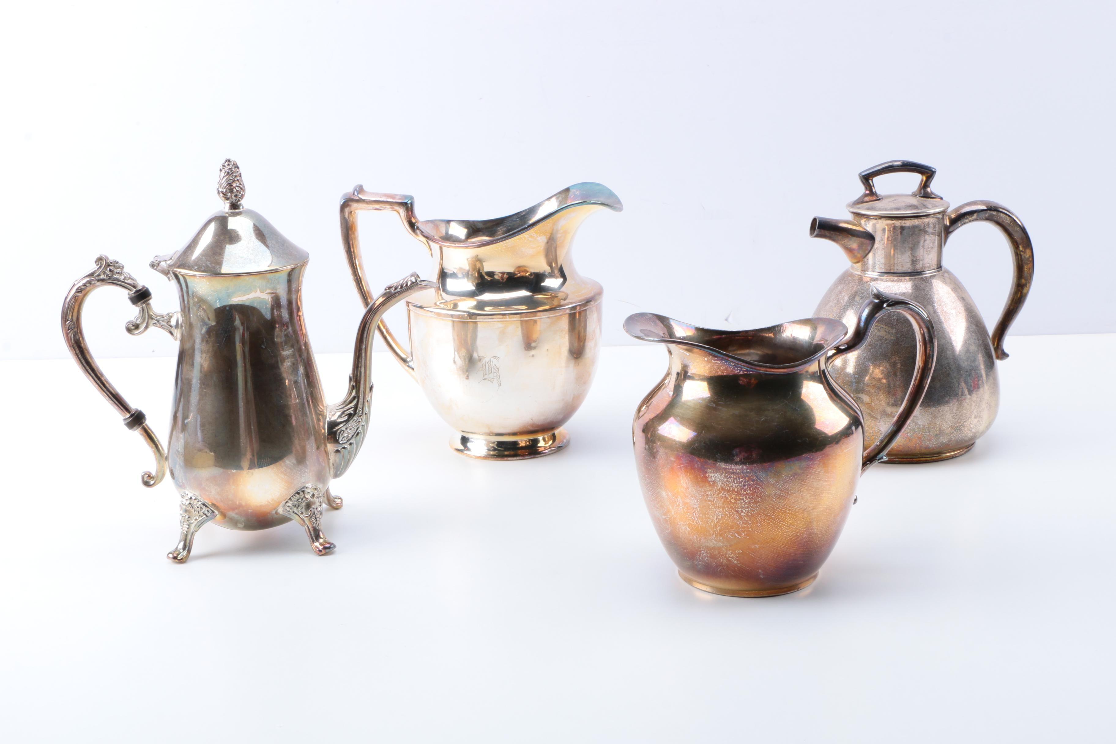 Collection of Vintage Silver Plate Pitchers, Tea, and Coffee Pots