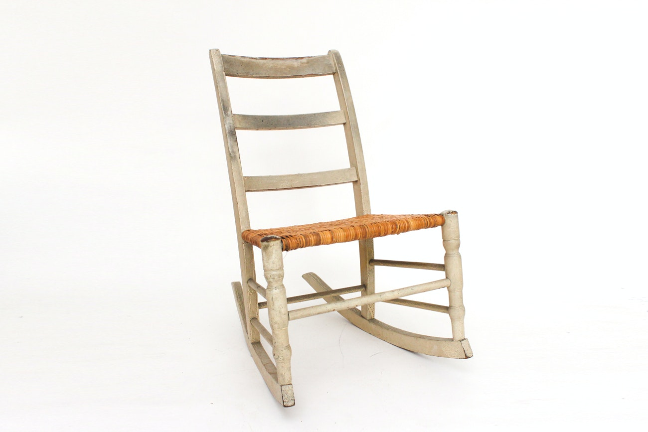 Wood and Wicker Child's Rocking Chair