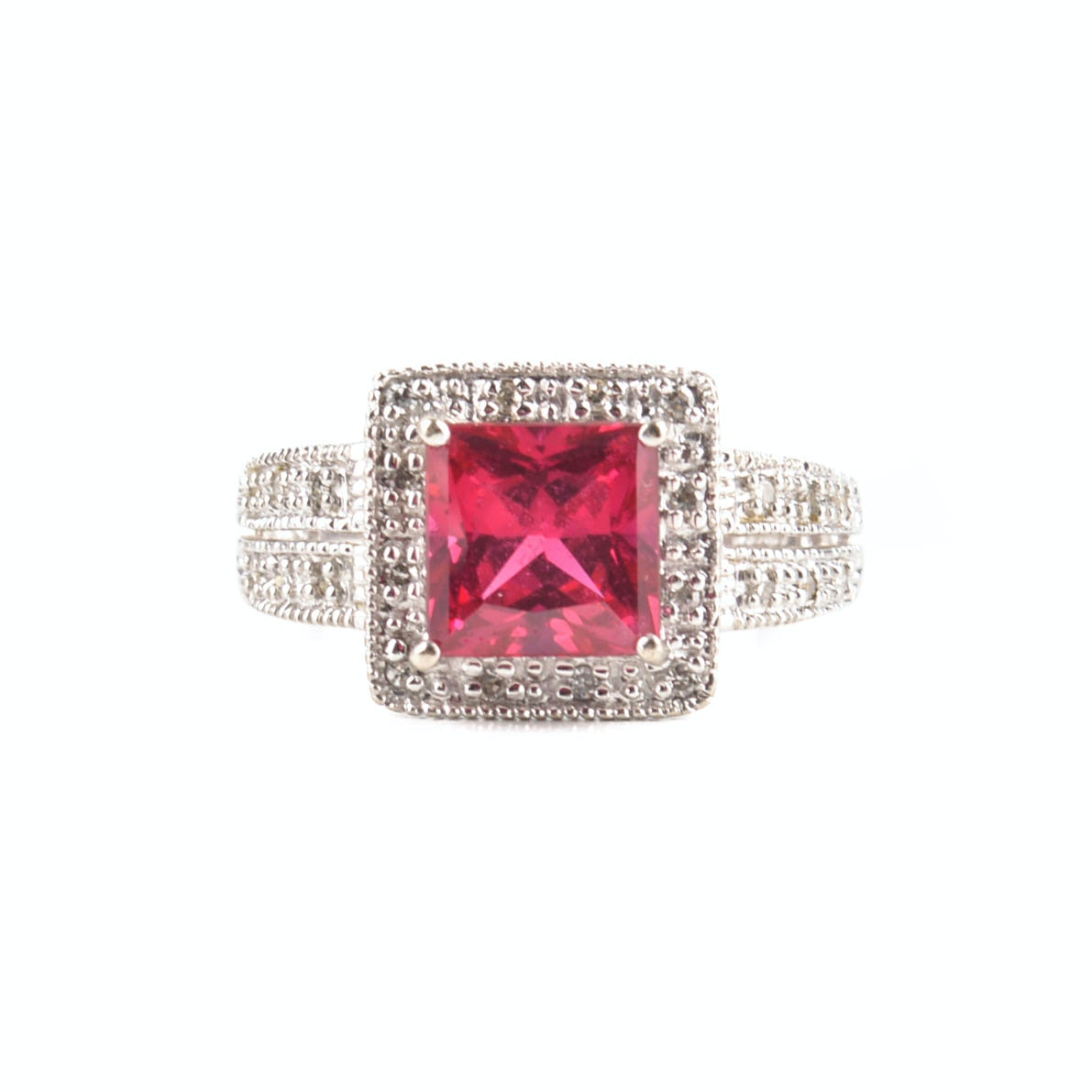 10K White Gold Diamond and Synthetic Ruby Ring