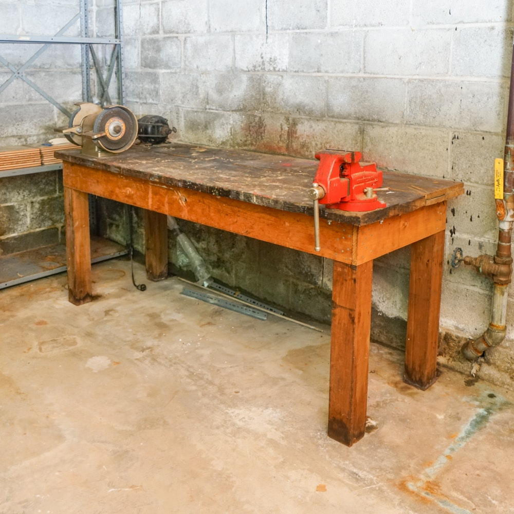 Woodworking Table with Craftsman Sander and Vice Grip