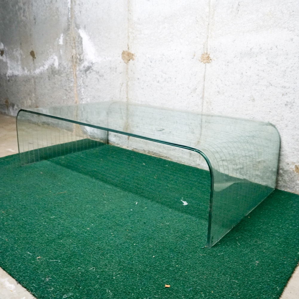 Modernist Tempered Glass Waterfall Coffee Table by Angelo Cortesi for FIAM