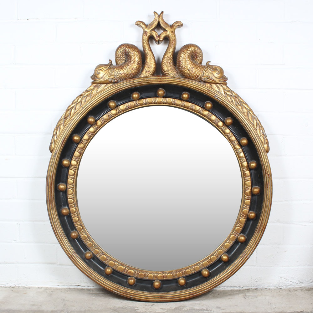Gold Painted Neoclassical Rondel Mirror with Dolphins