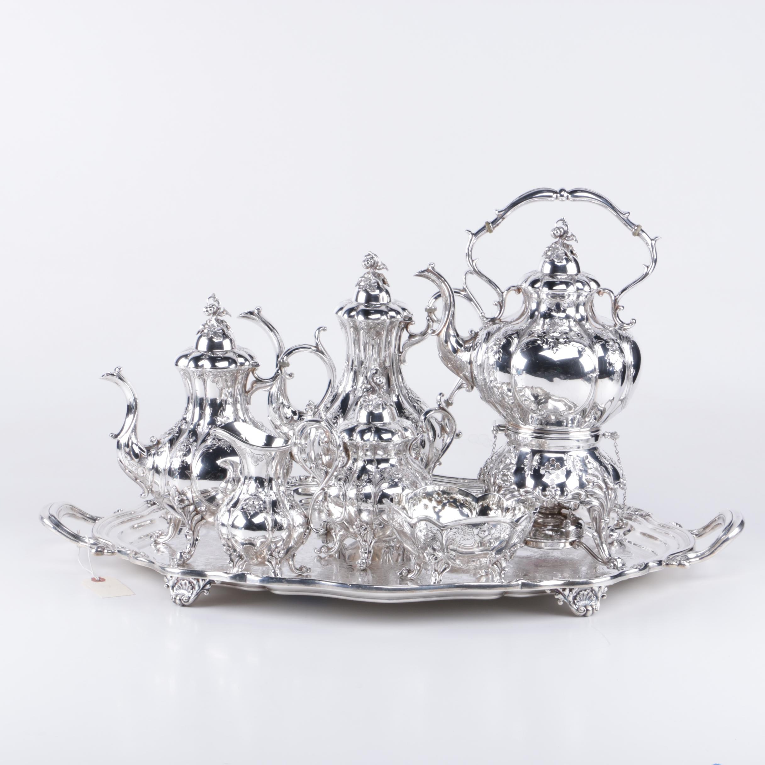 """Reed & Barton 'Winthrop"""" Hand Chased Silver-Plated Coffee and Tea Service"""