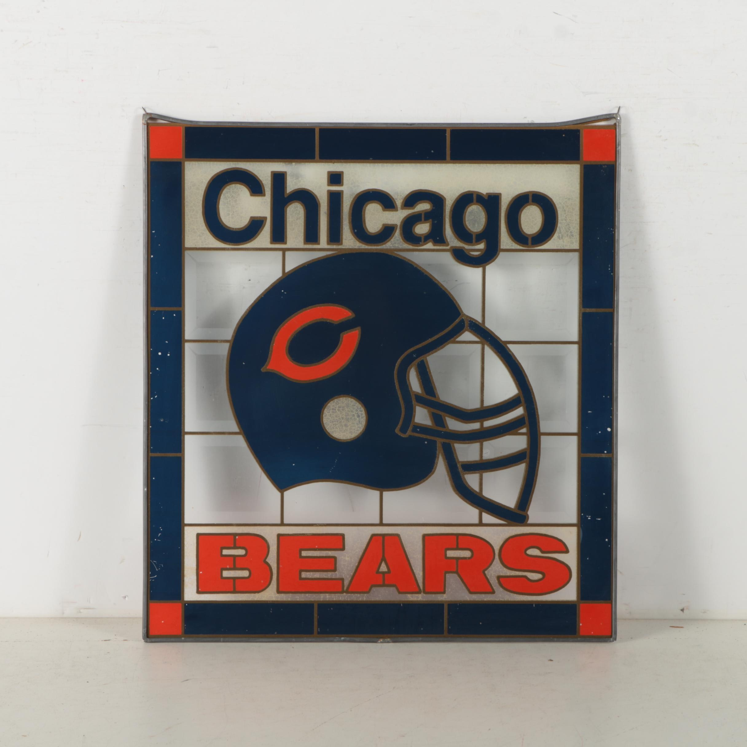 Chicago Bears Painted Glass Panel