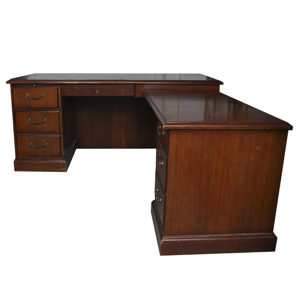 Mahogany Veneered L-Shaped Desk