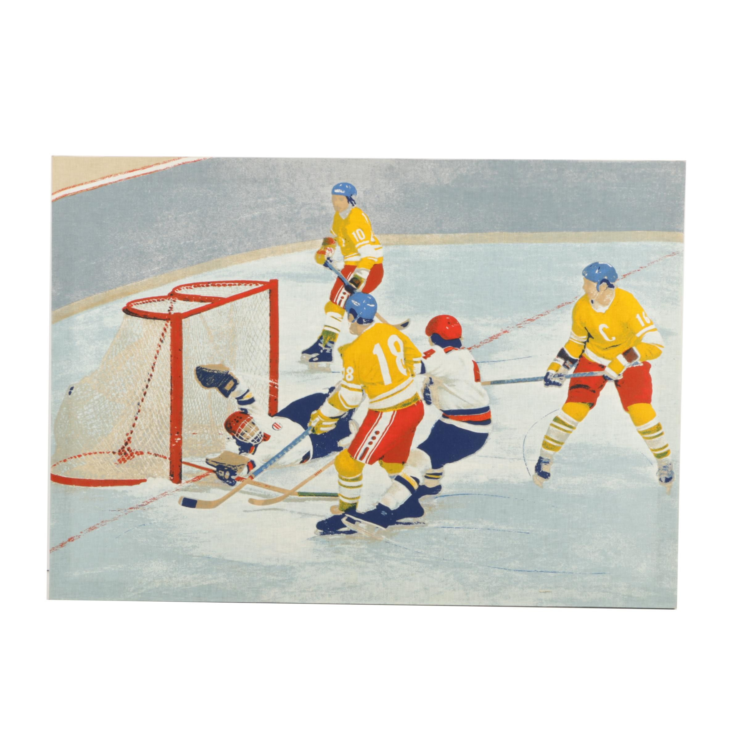 Digital Print on Fabric After Original Painting of Hockey Players