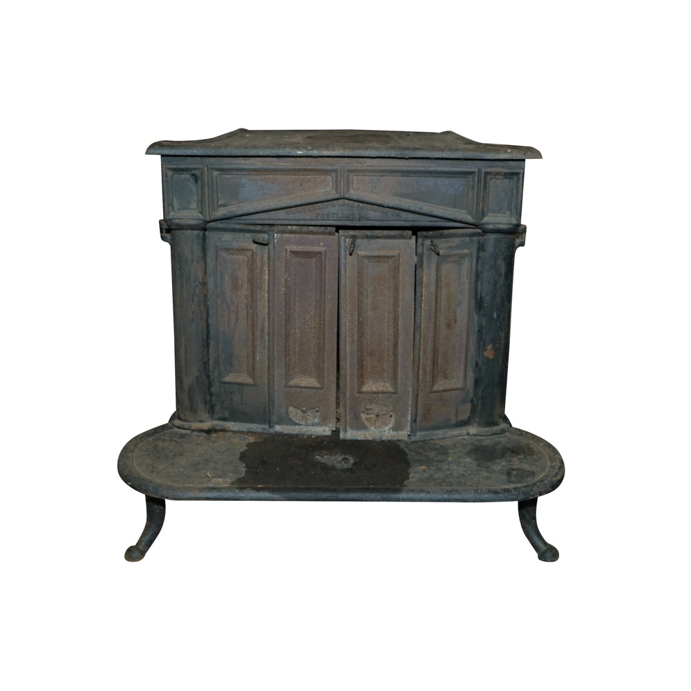 vintage portland stove foundry cast iron wood stove with andirons