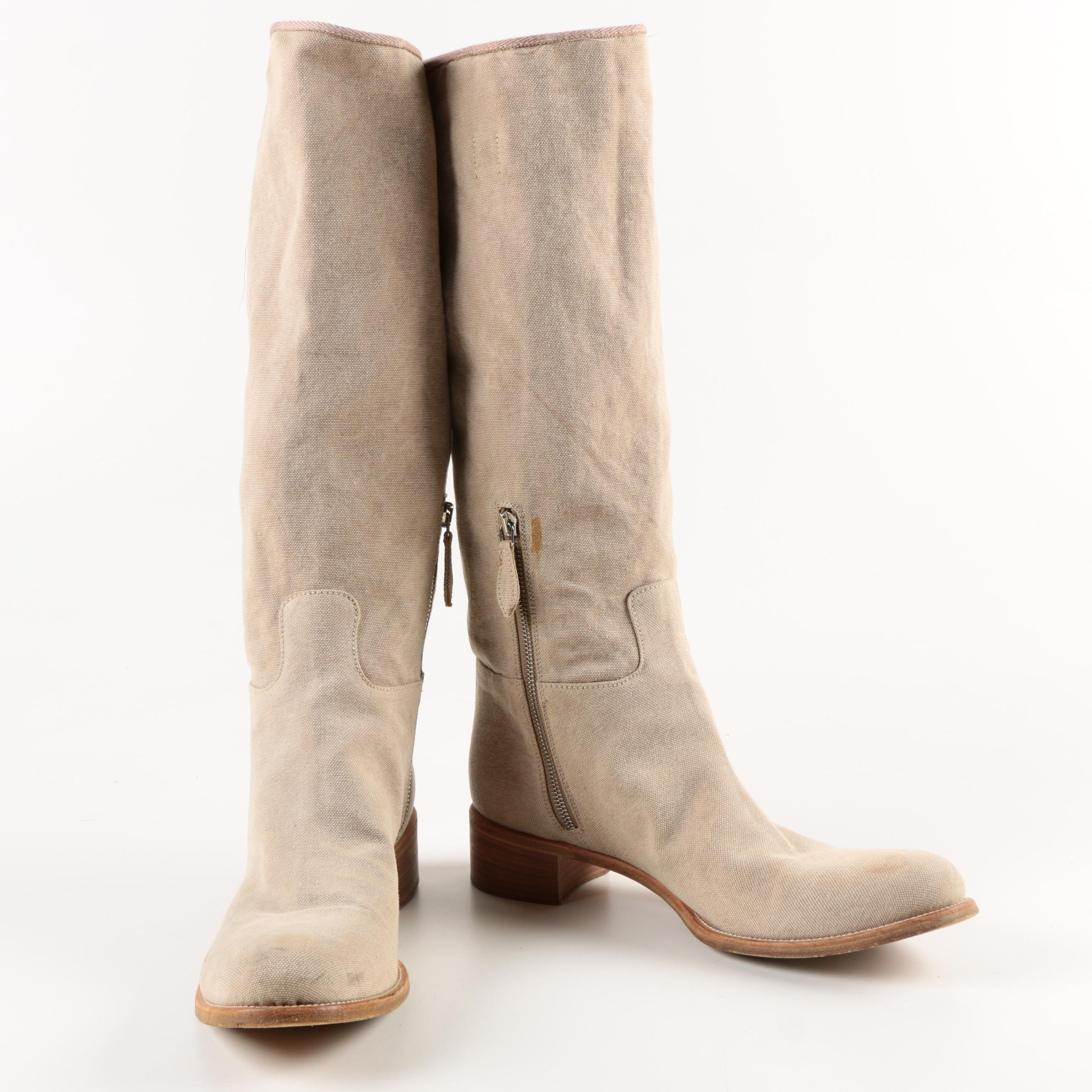 Prada Beige Canvas Boots