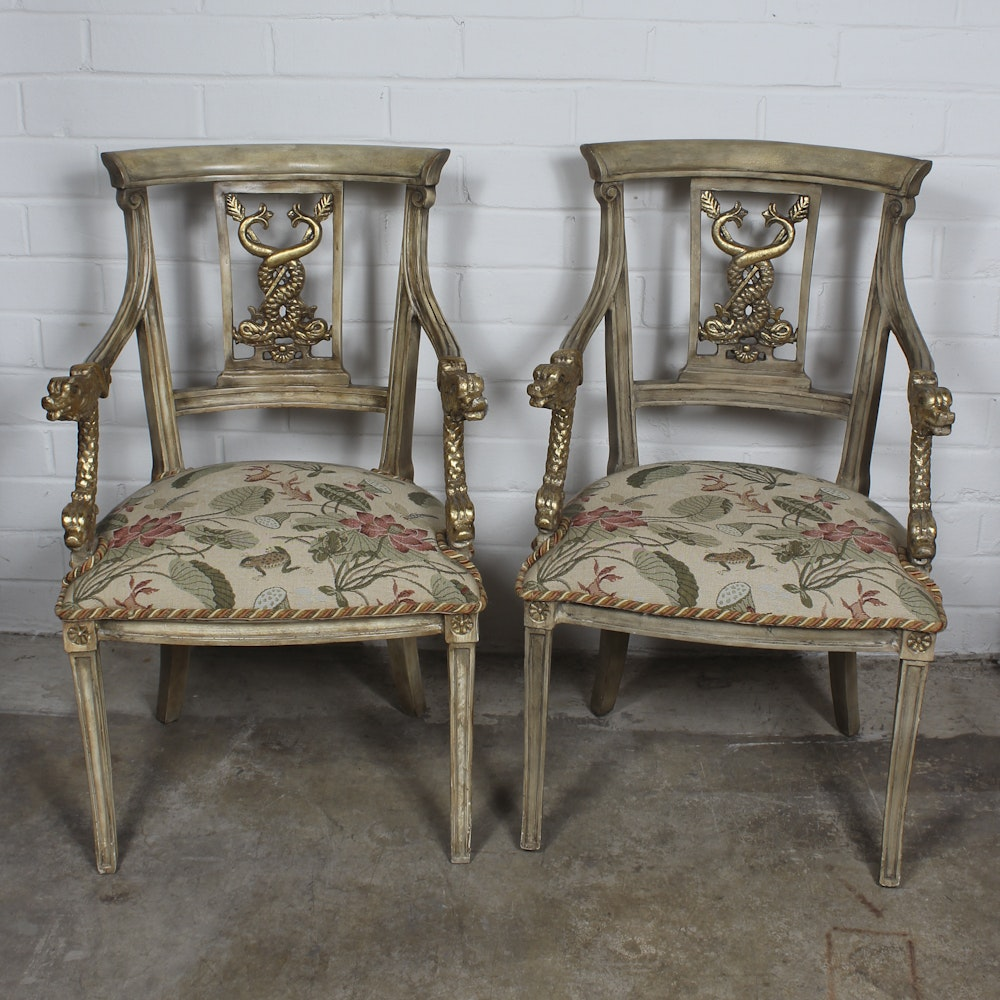 Pair of Italian Classical Style Arm Chairs
