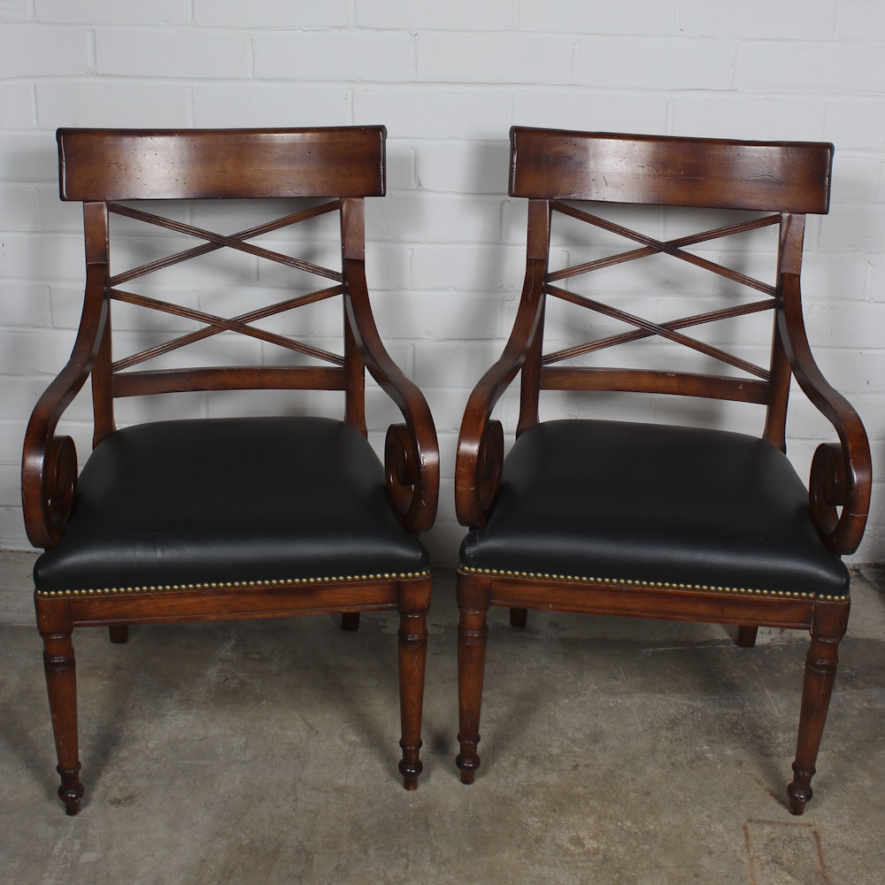 Regency Style Armchairs with Leather Seats