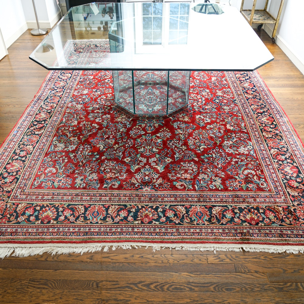Hand Knotted Persian Wool Area Rug Ebth: Hand-Knotted Persian Kerman Wool Area Rug
