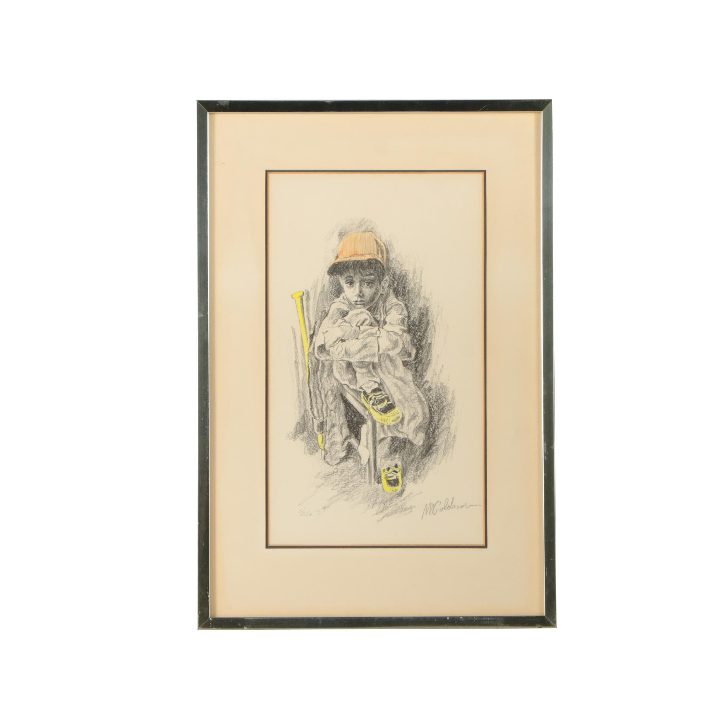 M. Goldman Limited Edition Hand Colored Lithograph of Boy with Baseball Bat