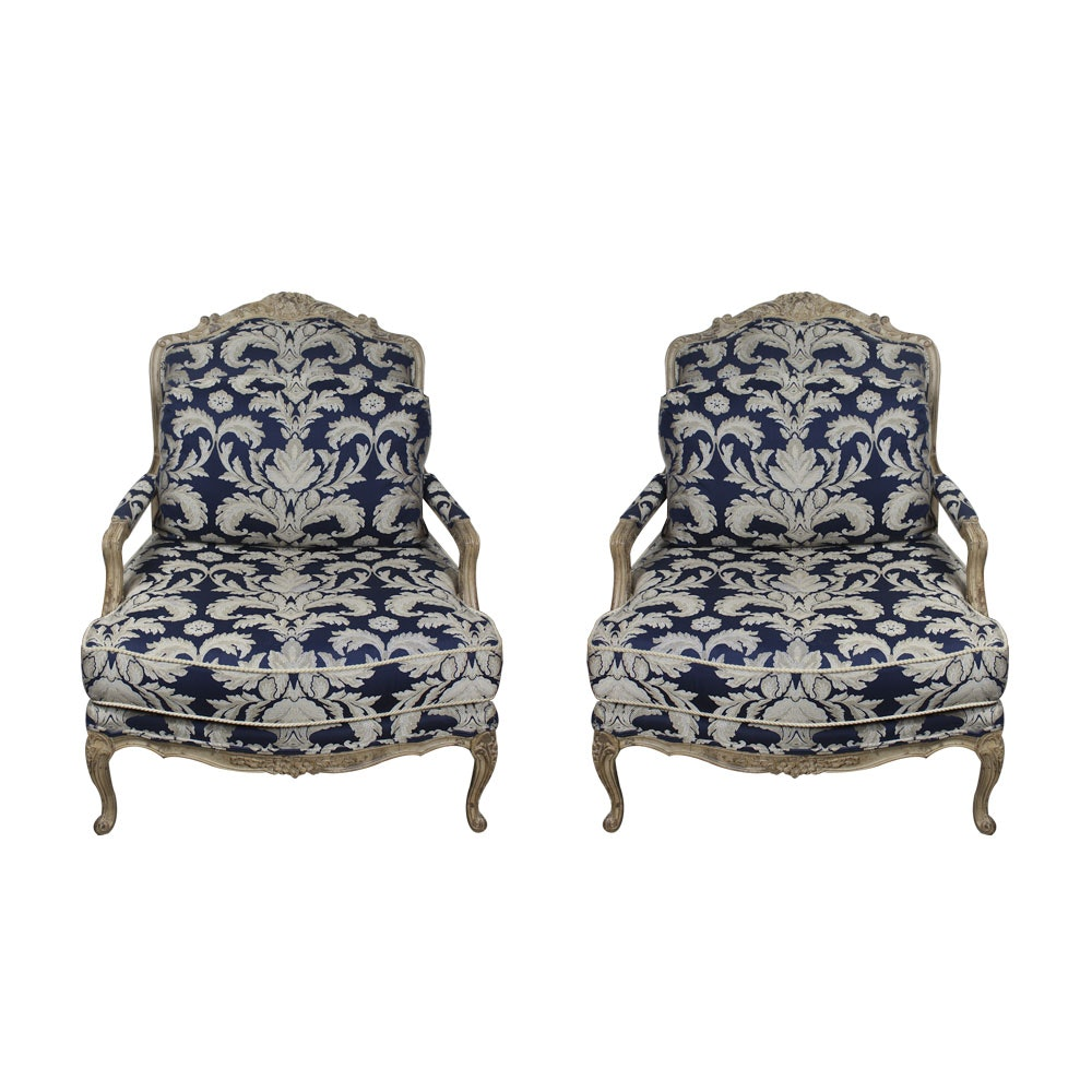 Vintage Louis XV Style Upholstered Fauteuils by Drexel Heritage
