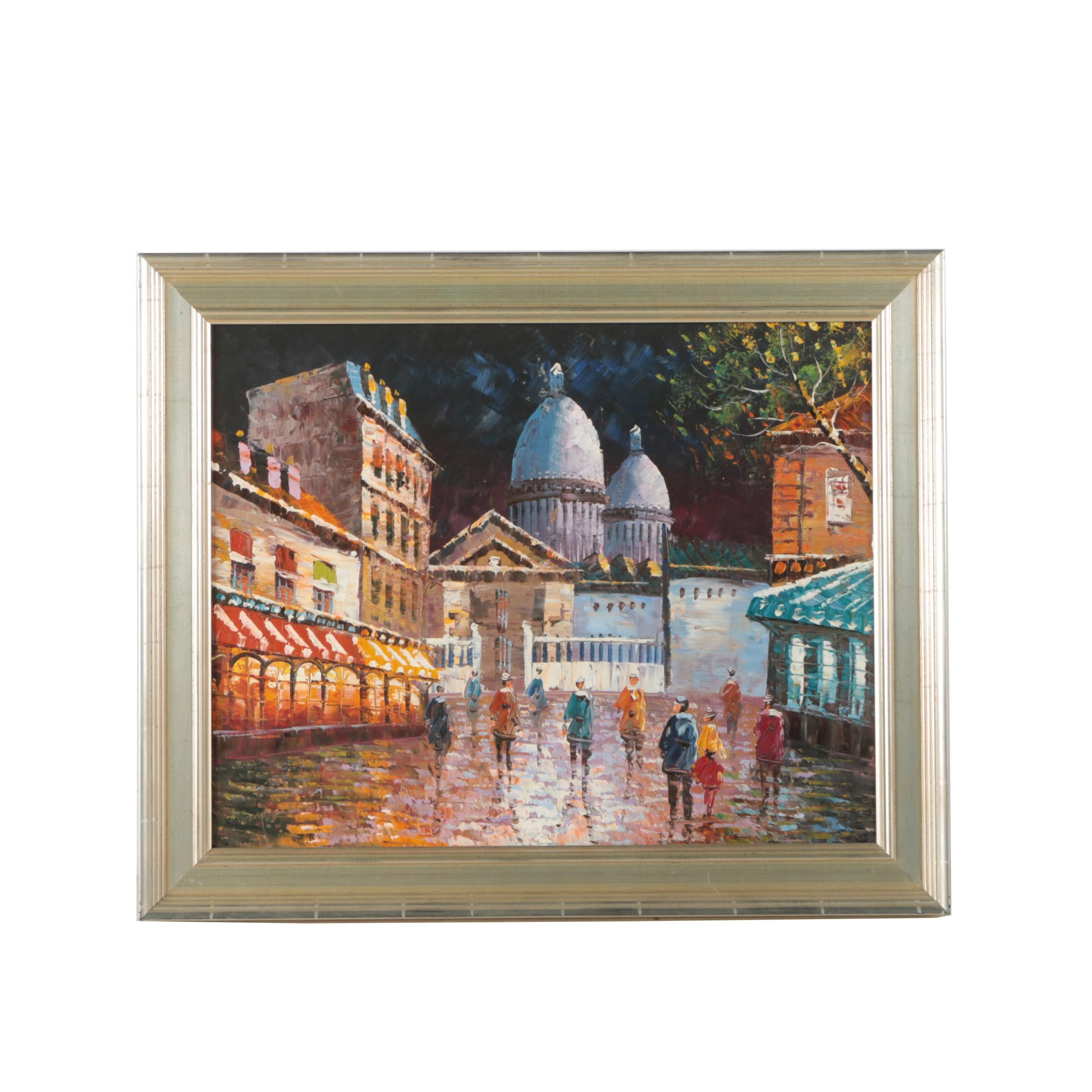 Oil Painting on Canvas of a Parisian City Scene
