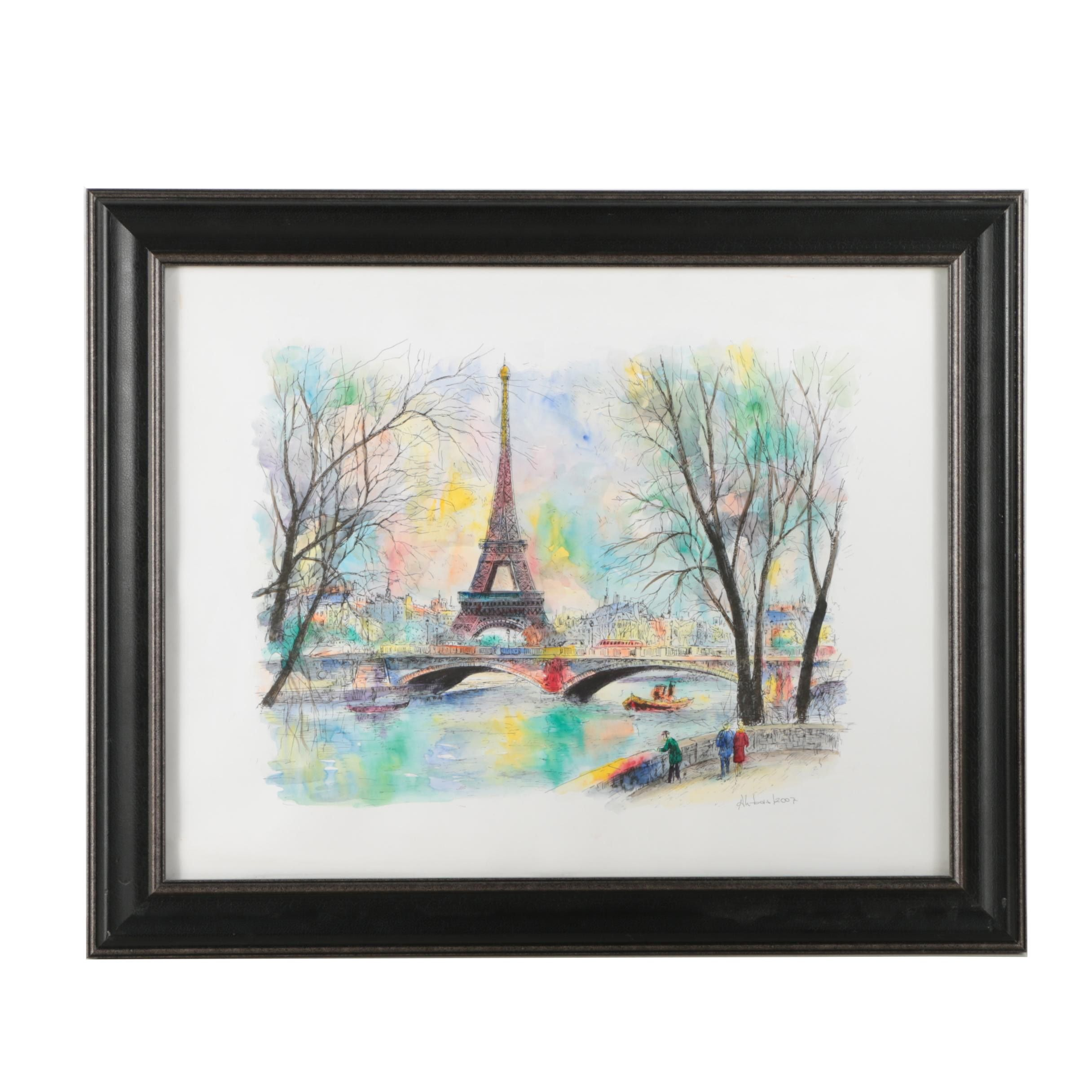 Ahbas 2007 Hand-Colored Lithograph of Parisian Cityscape with Eiffel Tower