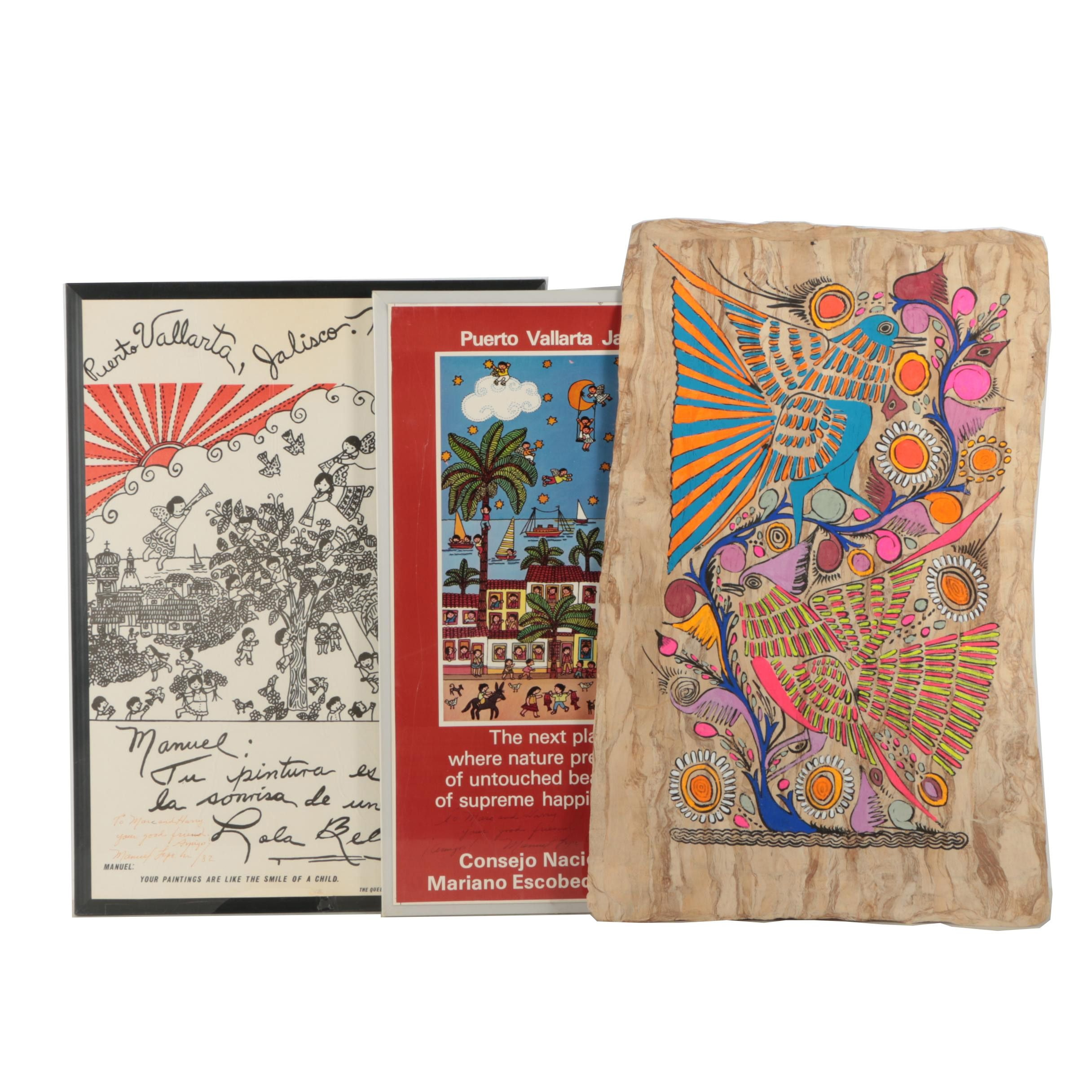 Two Signed 1980s Posters After Manuel Lepe and Mexican Folk Art Painting on Bark