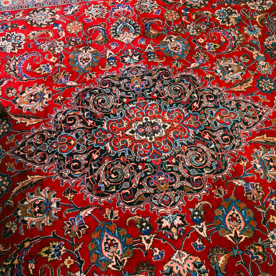 Hand Knotted Persian Tabriz Wool Area Rug Ebth: Hand-Knotted Persian Tabriz Area Rug