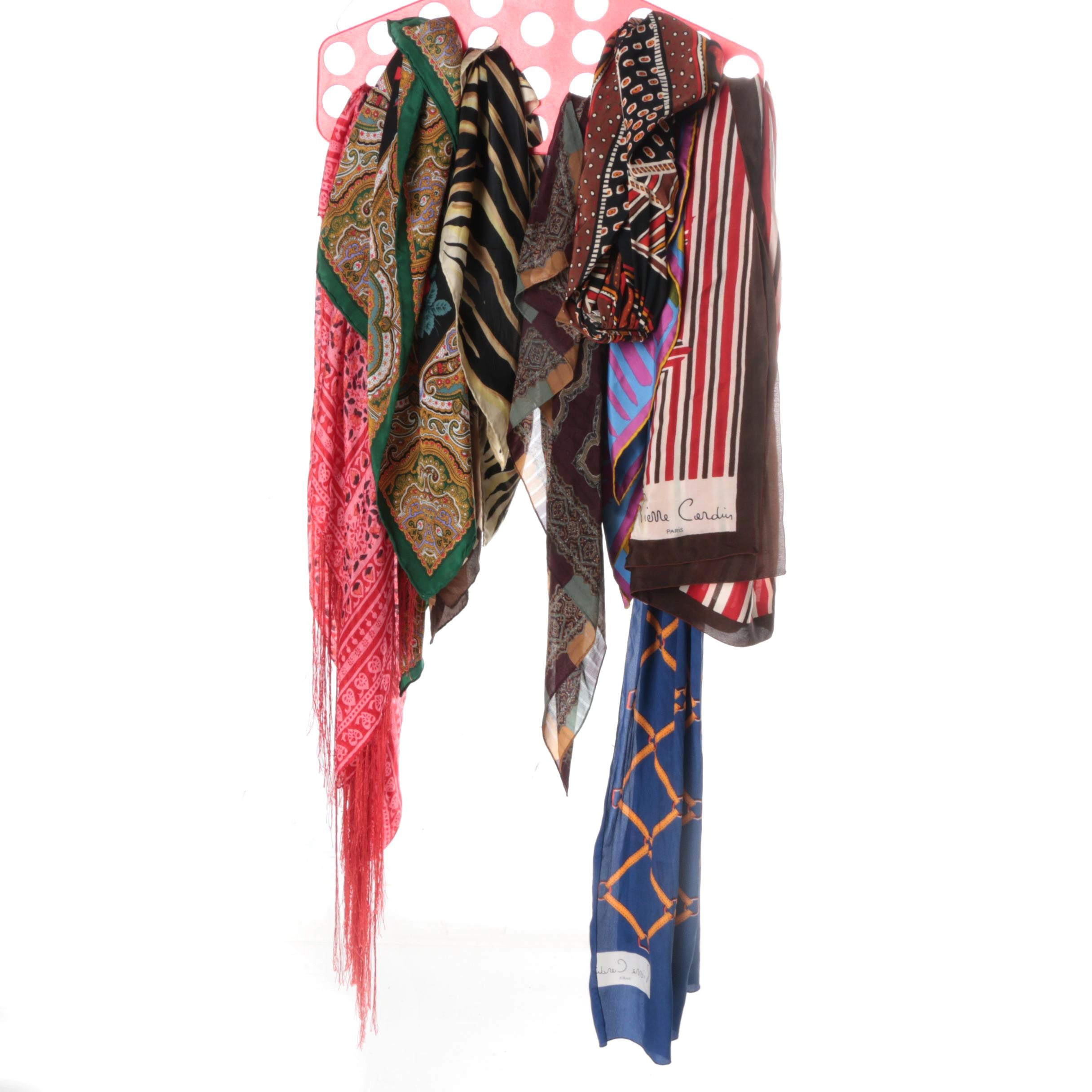 Printed Silk Scarves Including Pierre Cardin and Dana Buchman