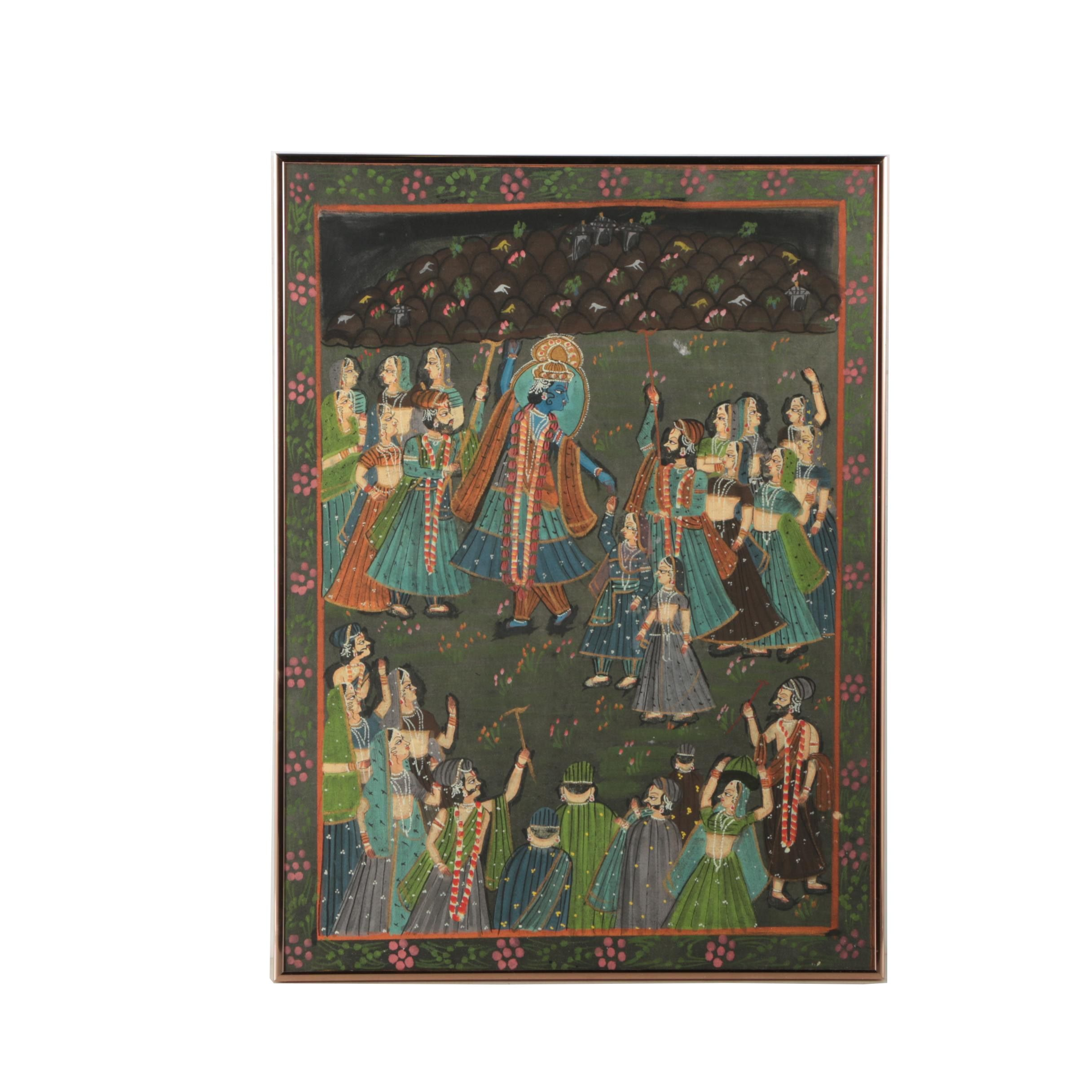 Indian Gouache and Ink Painting on Fabric of Krishna Surrounded by Figures