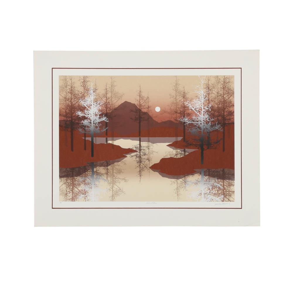 "James Hagen Artist's Proof Serigraph Print on Paper ""Echo Lake"""