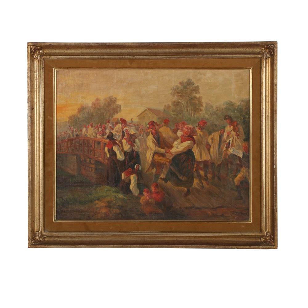 Hans Koch 19th-Century Oil Painting on Canvas on Board Genre Scene