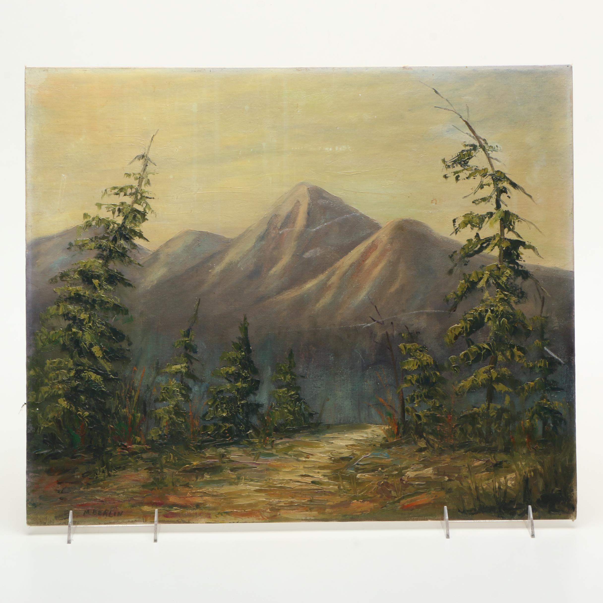 Martha Berlin Oil Painting on Canvas of a Mountain Landscape