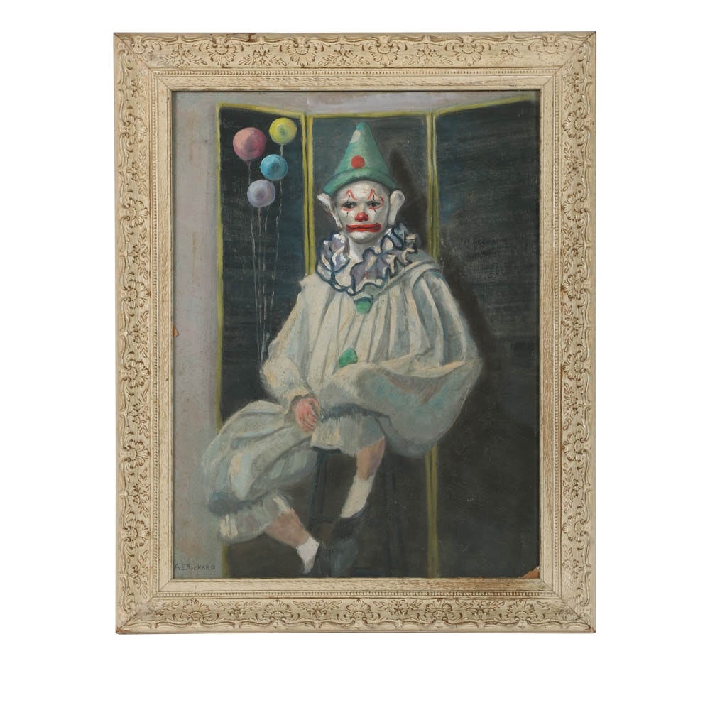 Oil Painting on Panel of a Seated Clown
