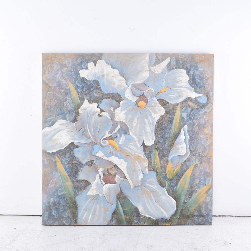 Van Stafford Mixed Media Artwork of Irises