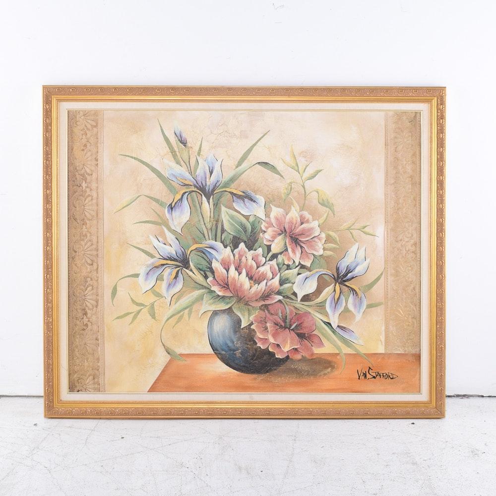 Van Stafford Mixed Media Artwork of Flowers