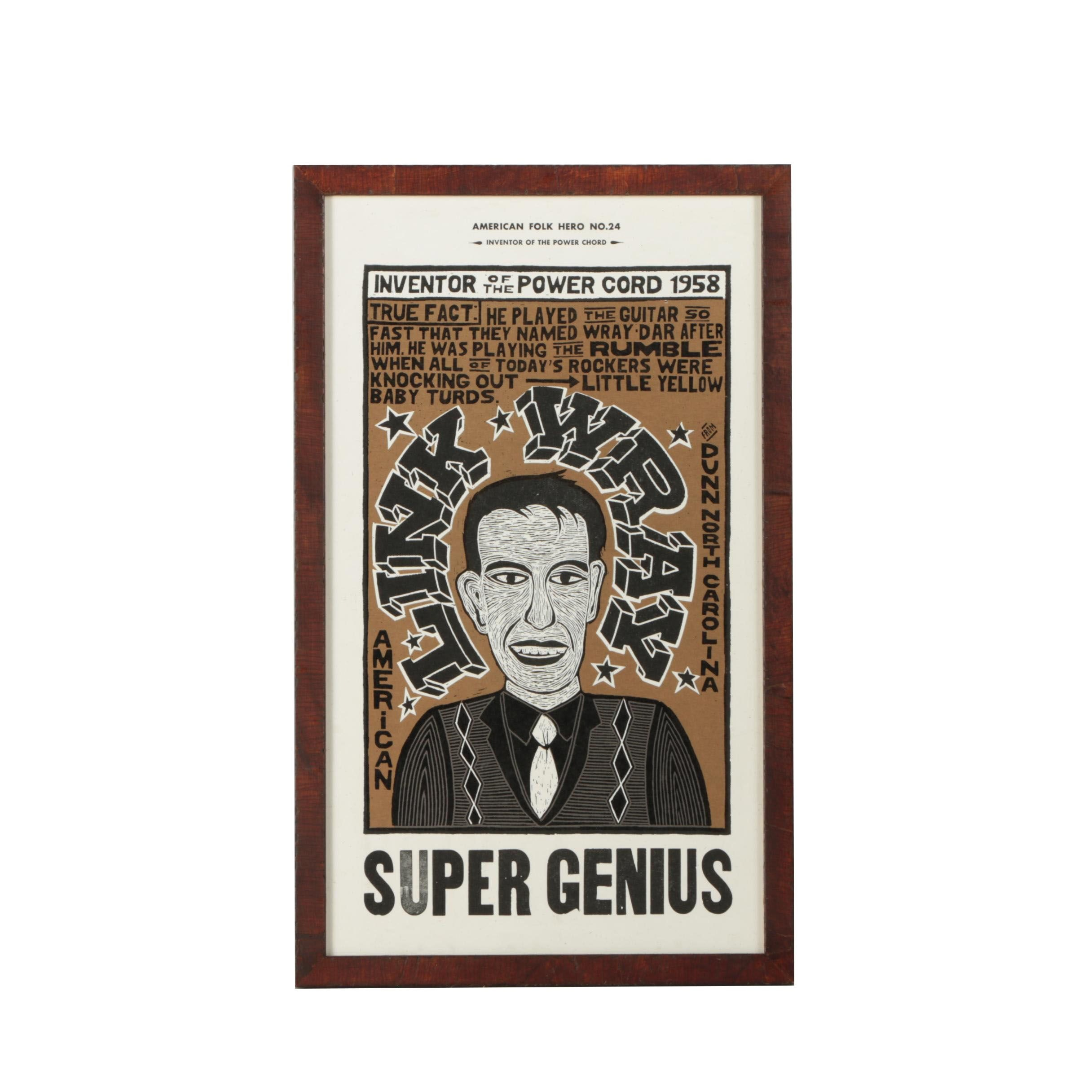 """Yee-Haw Letterpress Serigraph Print of Link Wray """"Inventor of the Power Chord"""""""