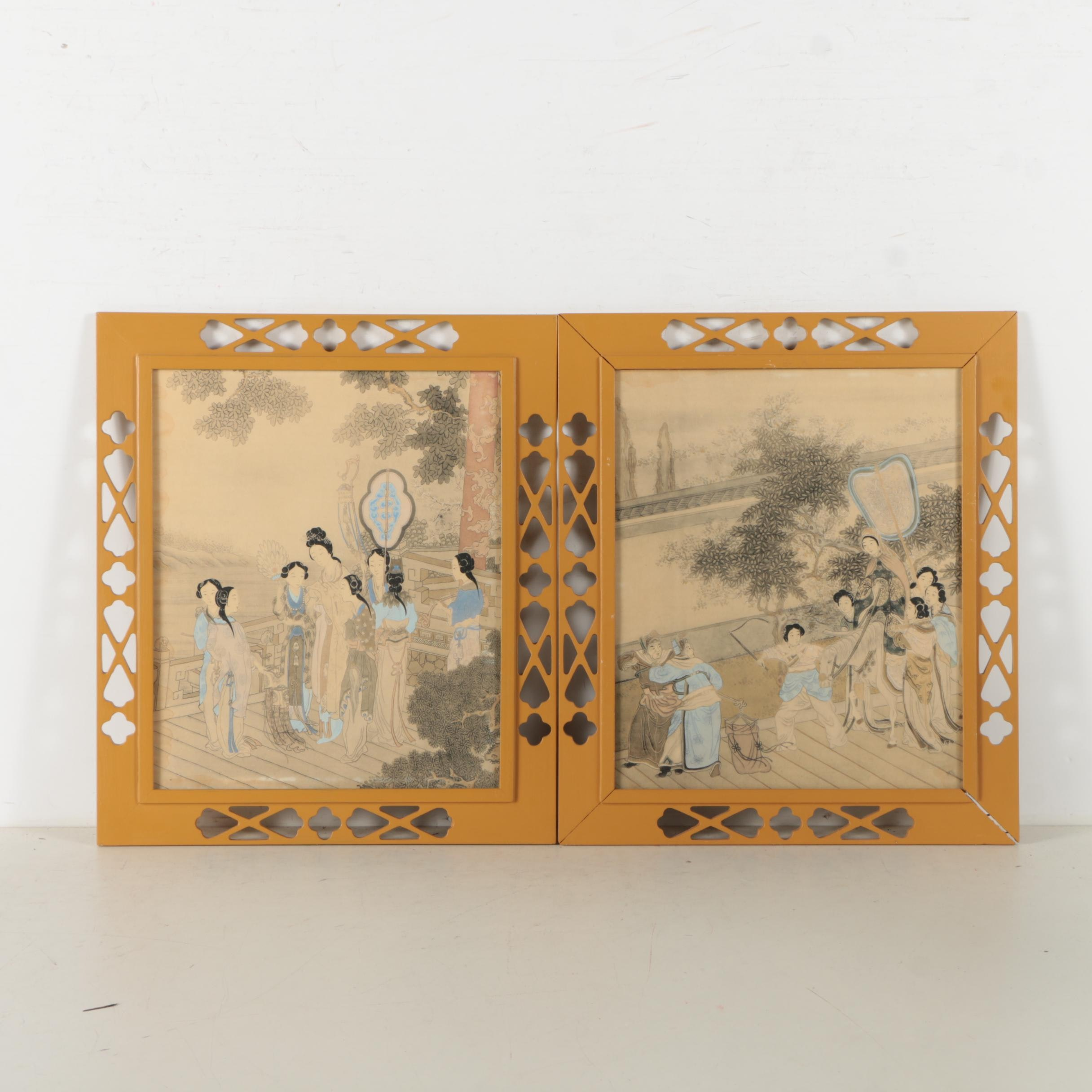 Pair of Hand Colored Lithograph Prints on Paper of Japanese Genre Scenes