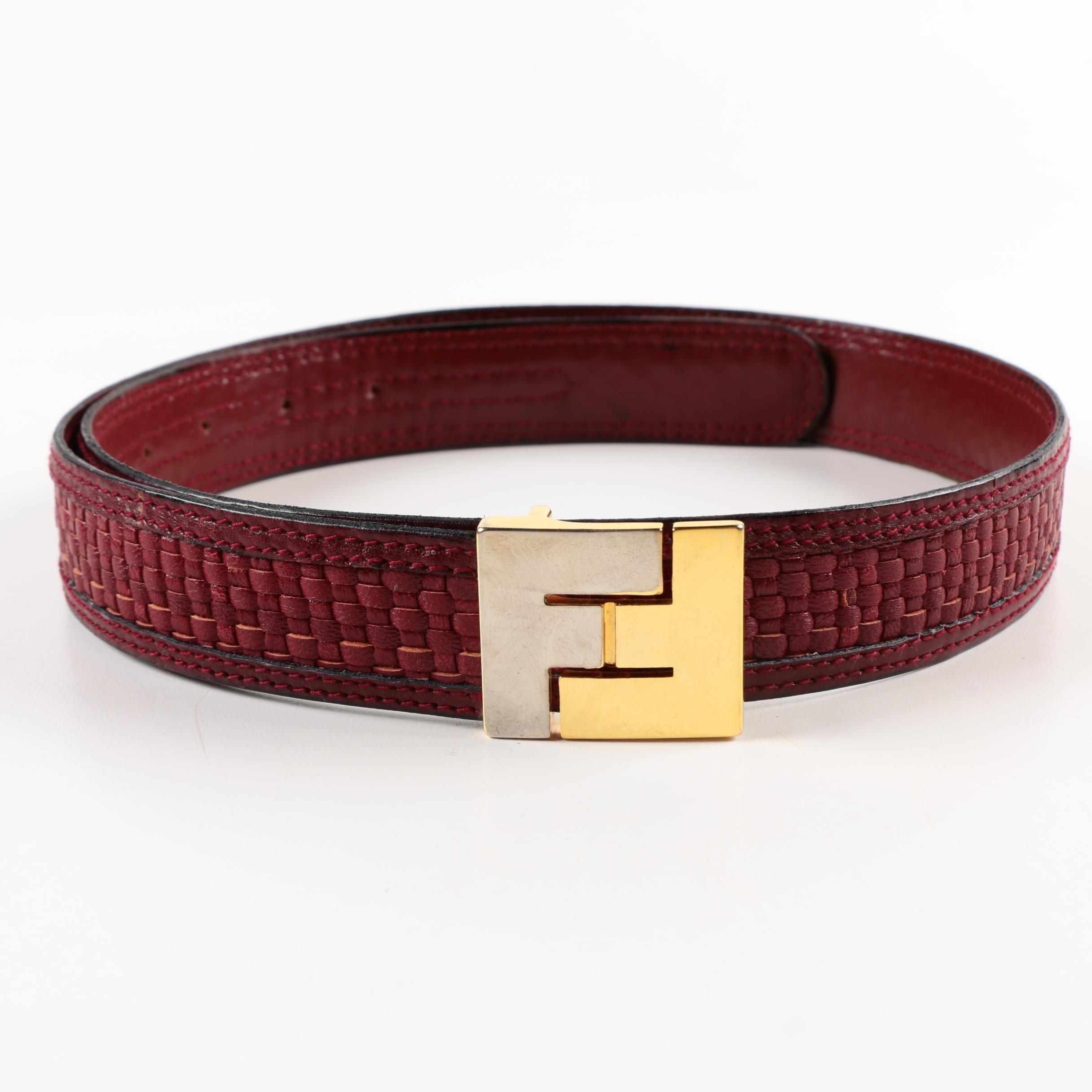 Vintage Fendi Woven Burgundy Leather Belt