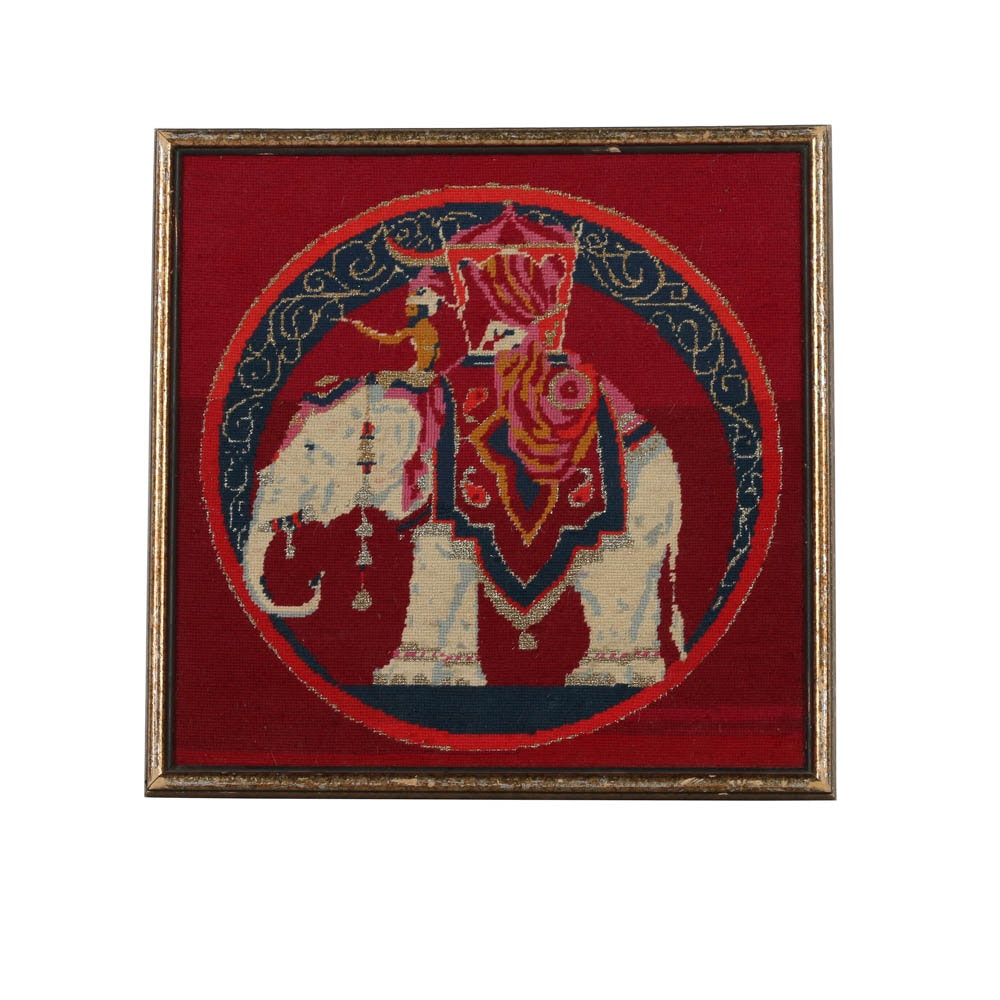 Yarn Embroidery of Elephant with Howdah and Rider