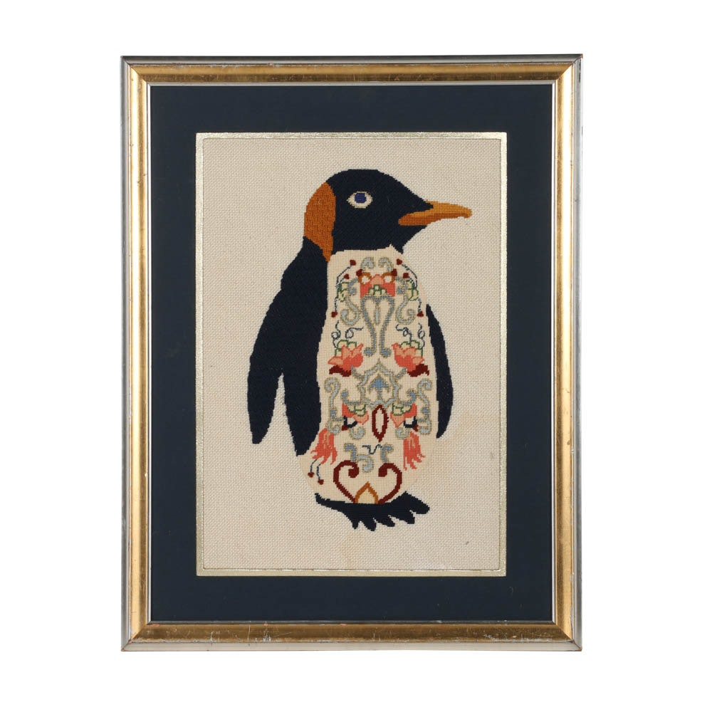Folk Art Needlepoint Embroidery of Penguin with Floral Motif