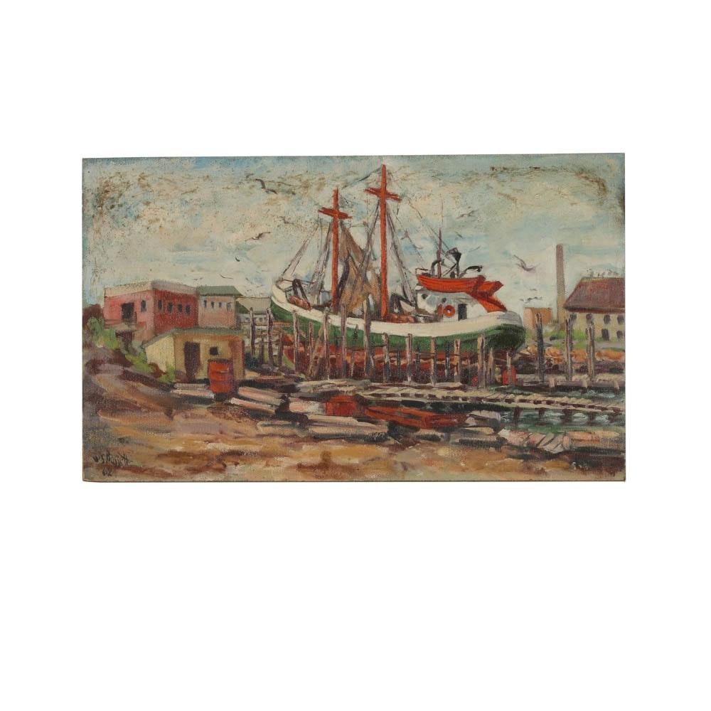 W. S. Bassett Oil Painting on Board of Maritime Scene