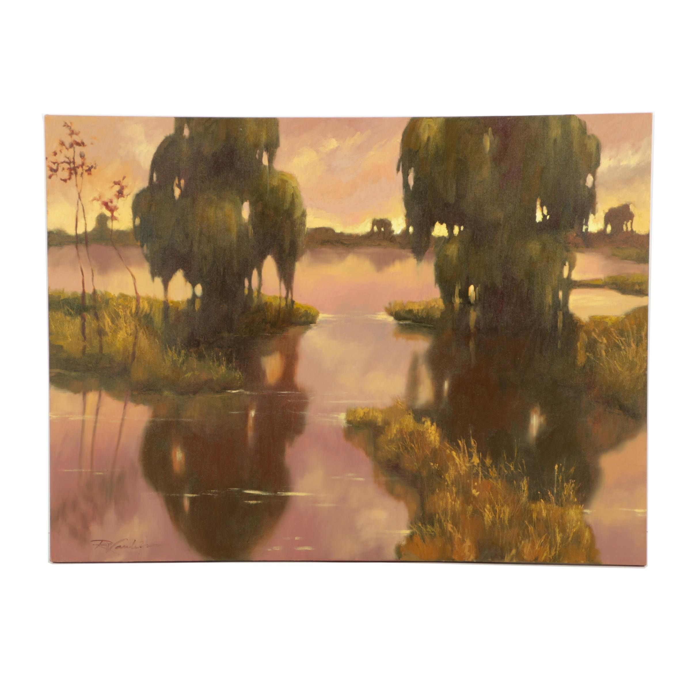 Signed Original Oil Painting on Canvas of a Sunset over a Pond