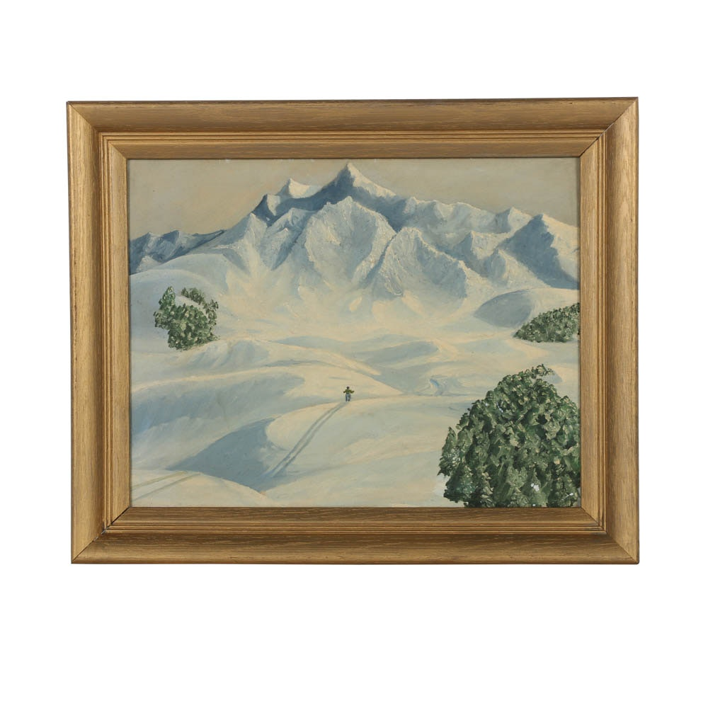 Oil Painting on Canvas Board of Figural Mountainous Landscape