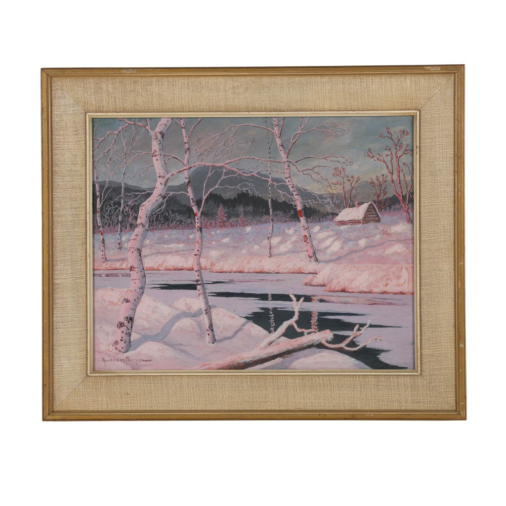 Gulbrand Sether Gouache Painting on Board of a Pink Winter Scene