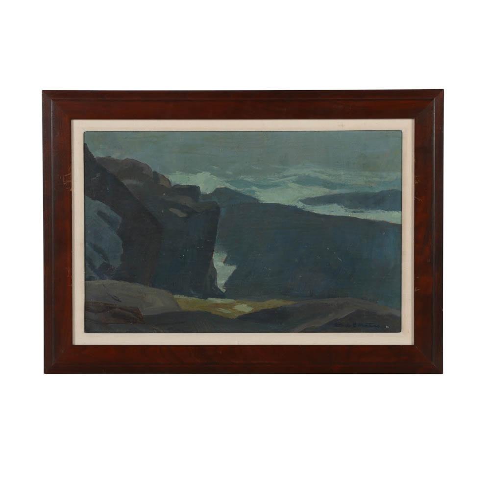 "Antonio Martino Oil Painting on Board ""Monhegan Coast"""